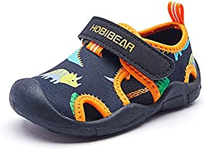 Lxso Toddler Water Shoes Quick Dry Beach Aquatic Sport Sandals for Boys Girls Little Kid (Black Orange, Numeric_9)