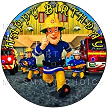 My Smart Choice 7.5 Inch Edible Cake Toppers – Fireman Sam Running Action Themed Birthday Party Collection of Edible Cake Decorations