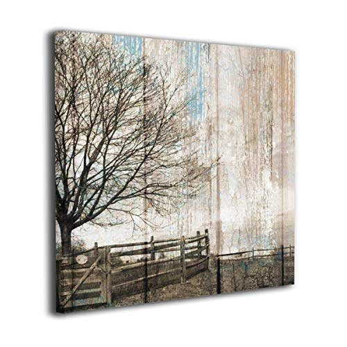 "HIBIPPO Country Farmhouse Brown Blue Canvas Wall Art Oil Paintings Wall Decorations for Bedroom Hallway 20""x20"" Stretched and Framed"