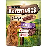 PURINA AdVENTuROS Strips Hundeleckerli fettarm, Hundesnack mit Hirschgeschmack, 6er Pack (6 x 90g)