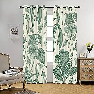 Blackout Curtains Seamless Pattern Fabric Amaryllis Waratah Hibiscus Wahlenbergia Fern Thermal Insulated Lined Window Coverings for Living Room Bedroom Silk Curtains Grommet 2 Panels (70×84 Inch)