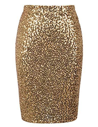 keland Damen Pailletten Rock Bleistiftrock Hohe Taille Glitzer Meerjungfrau Rock Bodycon Midi Skirt (Gold, L)