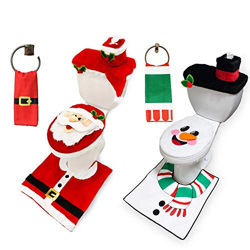 10 Pieces Christmas Santa and Snowman Themes Bathroom Decoration Set w/Toilet Seat Cover, Rugs, Tank Cover, Toilet Paper Box Cover and Santa Towel for Xmas Indoor Décor, Party Favors