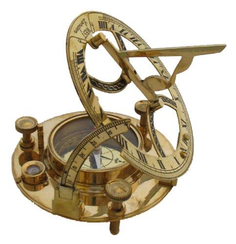 RedSkyTrader Messing-Sonnenuhr-Kompass 11,4 cm