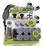 """GorillaRisers CB251-8 Screw on Furniture Risers (8 Pack) Floor Protector Slider Legs Raise Chair or Table Height 1-1/4"""" to 1-1/2', Plastic & Felt Glide Combo, 1 Inch Round, Black"""