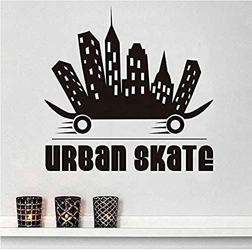 Muurstickers Creatief Ontwerp Stad Skateboard Muurstickers Vinyl Decals Skateboard Extreme Sport Zelfklevende Rubber Jongen Wandmuurschildering Home Decoratie 44X43Cm