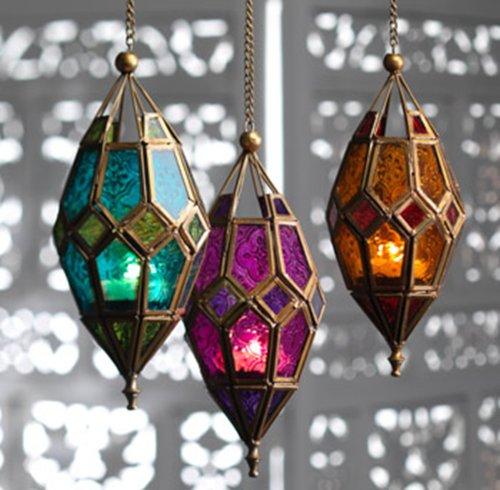 Large Moroccan Style Hanging Lantern Tea light Candle Holder Fair Trade, Purple & Pink, Red & Orange or Teal Blue & Green (Teal Blue & Green)