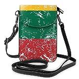 Lituania Retro Bandera Elegante Cartera Móvil, Tarjetero para iPhone, Cartera Móvil y Tarjetero Ligero Bolsillos Espaciosos Bolsa para Smartphone para Mujeres Niñas Adolescentes