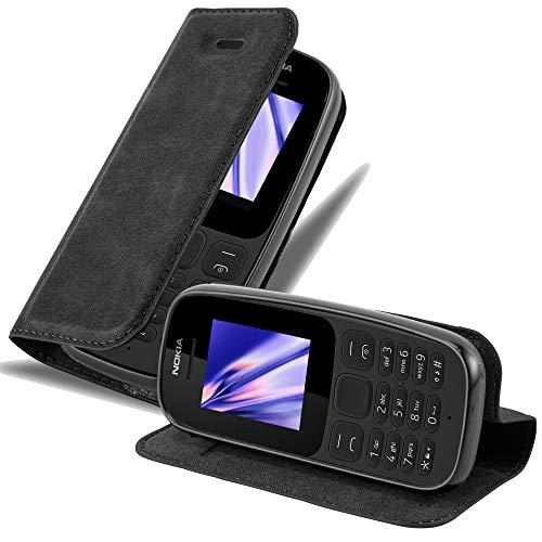 Cadorabo Hülle für Nokia 105 DUAL - Hülle in Nacht SCHWARZ – Handyhülle mit Magnetverschluss, Standfunktion & Kartenfach - Case Cover Schutzhülle Etui Tasche Book Klapp Style
