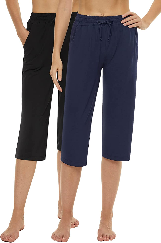 Cosy Pyro Womens Capri Max 61% OFF Yoga Pants 5 ☆ very popular Leg Wa Elastic Wide Drawstring