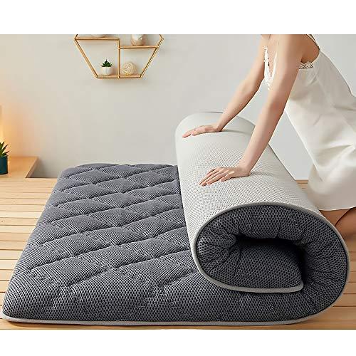 MKMKT Colchón de látex Natural de tamaño Completo, colchón de Espuma viscoelástica, tapete de Tatami Grueso, diseño ergonómico, Puede aliviar el Dolor de Espalda, Gris,10cm Thickness,90x200cm