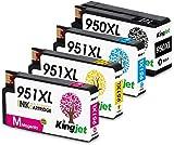 Kingjet Compatible con 951XL 950 XL Cartuchos de Tinta reemplaz para HP 950 951 para HP Officejet Pro 8600 8610 8620 8630 8640 8660 8615 8616 8625 8100 251dw 276dw Paquete de 4