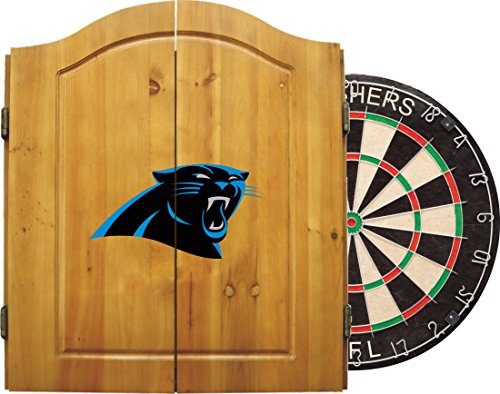 Imperial Official NFL Dart Boards for Adults with Cabinet, 6 Steel Tip Darts, Chalkboard Scorers, Carolina Panthers - Professional Bristle Dartboard Set - Premium Game Room Accessories and Decor