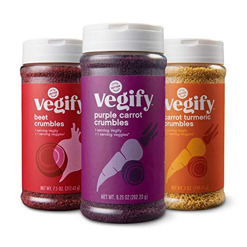 VEGIFY Veggie Crumbles Variety Pack | Add a serving of veggies to salads, meats, pasta | Replace croutons, bacon bits, and bread crumbs | Vegan, gluten free, high fiber | 7.5 oz (Pack of 3)