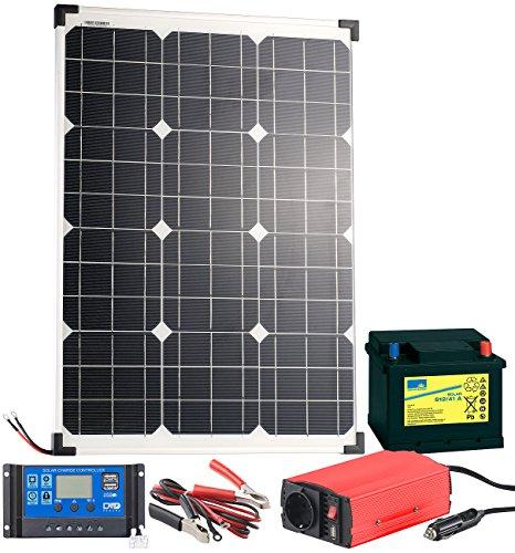 revolt Solarpanel Set: Solarpanel (50 W) mit Blei-Akku, Laderegler & Wechselrichter (Solaranlage für Gartenhaus 230V)