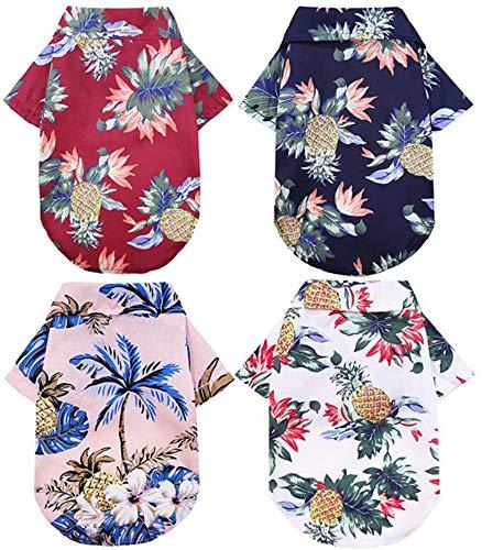 LLFA 4-Pack Hawaiian Dog Shirt - Summer Sweatshirts pet Shirt - Cool, Breathable Dog Clothes -Small Medium Large-Sized boy Girl pet Clothes (Medium)