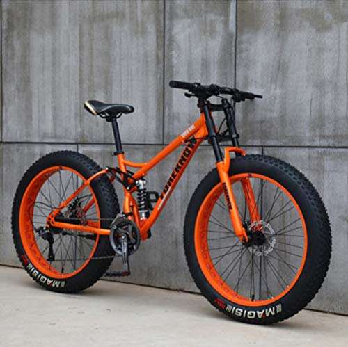 Wind Greeting 26' Mountain Bikes,Adult Fat Tire Mountain Trail Bike,24 Speed Bicycle,High-carbon Steel Frame Dual Full Suspension Dual Disc Brake (Orange)