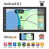 Liehuzhekeji Android 8.1 Double Din Car Stereo Radio Receiver, 7' HD 2.5D Screen Universal Multimedia Player, Support Mirror Link Built-in FM Bluetooth WiFi/GPS/Navigation/Aux-in/DVR