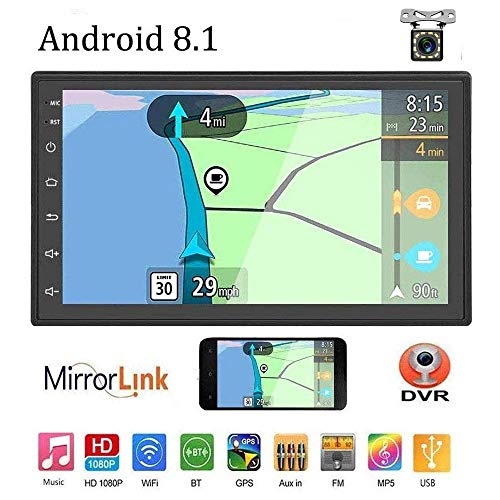 """Liehuzhekeji Android 8.1 Double Din Car Stereo Radio Receiver, 7"""" HD 2.5D Screen Universal Multimedia Player, Support Mirror Link Built-in FM Bluetooth WiFi/GPS/Navigation/Aux-in/DVR"""