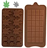 Weed Edible Silicone Leaf Cannabis Chocolate Mold and Chocolate bar breakable Mold, Gummy, Marijuana Pot, For Muffins Cookie Chocolate Fondant Greenery Candy Hemp 2 Different Molds