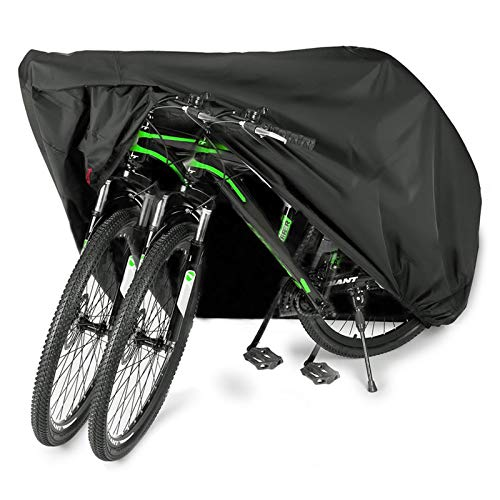 EUGO Bike Cover for 2 or 3 Bikes Outdoor Waterproof Bicycle Motorcycle Covers XL XXL Oxford Fabric Rain Sun UV Dust Wind Proof for Mountain Road Electric Bike Tricycle (210D-XL for 2 Bikes)