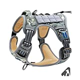 Auroth Tactical Dog Training Harness No Pulling Front Clip Leash Adhesion Reflective K9 Pet Working Vest Easy Control for Small Medium Large Dogs (M(Neck:15-21',Chest:22-27'), Grey Camo)