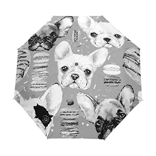 Oyihfvs French Bulldog Donuts Seamless Auto Open/Close Folding Umbrella, Strong Lightweight Travel Rain Umbrella, Portable Automatic Compact Sun Parasol with UV Protection