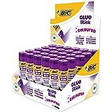 BIC Coloured Glue Stick Bâtons de Colle Colorée - 8 g, Boîte de 30