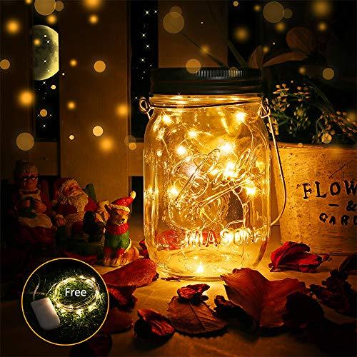 Einmachglas Solarlampen, DazSpirit Einmachglas Lichter Glas Licht Outdoor wasserdichte Garten Hängelampen für Dekor, Zuhause, Party, Wand, Tisch (1 STÜCK)