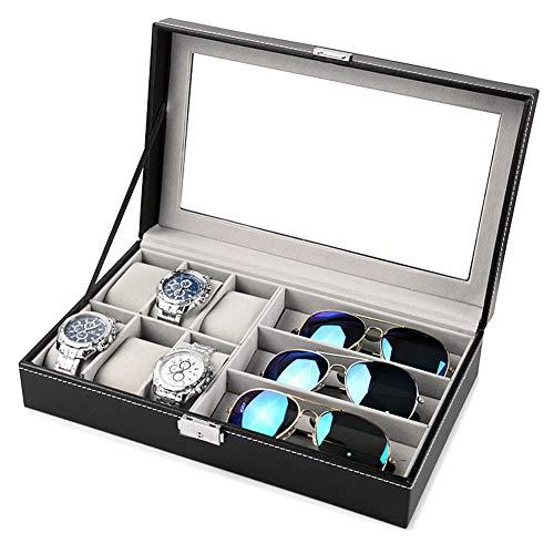 qazwsx Caja De Reloj De Cuero con Ranura, Caja De Almacenamiento Organizador De Vitrina, Almacenamiento De Joyas De Vidrio Negro, Cajas De Almacenamiento De Joyas (Color : Glasses Watch Box)