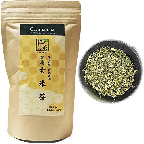 Zen no Ocha Genmaicha tea - Japanese loose leaf Organic Green tea 3.53oz 100g (Made in Kyoto Uji Japan)