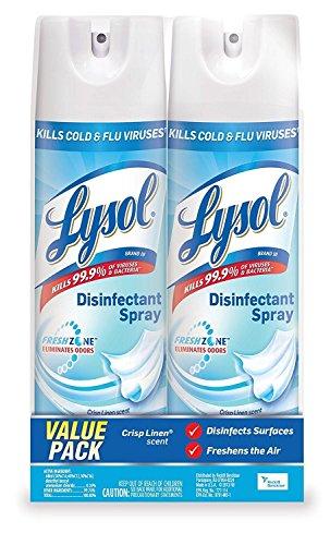 Lysol Crisp Linen Spray, 4 PACK, blue