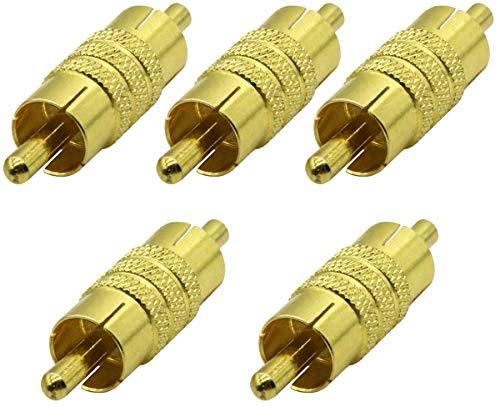 AAOTOKK RCA Connettore Accoppiatore Placcato Oro RCA Maschio a Maschio Prolunga Adattatore RCA AV/TV Cavo Audio Video Connettore Metallico (5 pezzi)