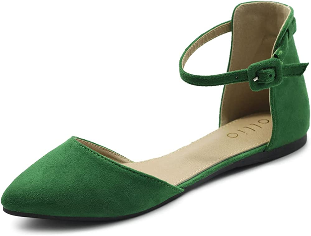 Ollio Women's オンラインショッピング Shoes Faux Suede Ankle Pointed Straps Toe 登場大人気アイテム D'Orsay