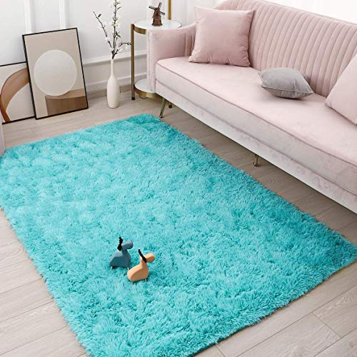 Goideal Fluffy Soft Bedroom Area Rugs 4ft x 6ft Shaggy Floor Indoor Rug for Living Room Kids Room Nursery Home Party Decoration Carpet, Teal Blue