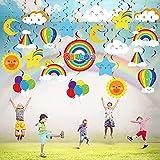 30 Pièces Décorations de Tourbillons Suspendus Arc-en-Ciel, Ballon de Soleil Arc-en-Ciel Coloré Signe de Fête d'Anniversaire Nuage Lune Étoile Décor de Plafond de Tourbillons d'Aluminium