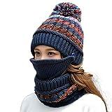 Gosuban Womens Beanie Hat Scarf Set Girls for Winter Slouchy Knit Skull Cap Neck Warmer Fleece Lined Pom (Blue)