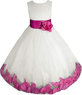 ivory and fuchsia flower girl dress