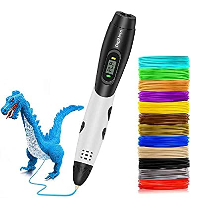 DigiHero 3D Pen for Kids,Toys for Kids 3D Pen with 1.75mm PLA Filament Pack of 12, Each Color 10 Feet, 3D Printing Pen with LED Screen is for Kids,Artist, Adults Upgraded