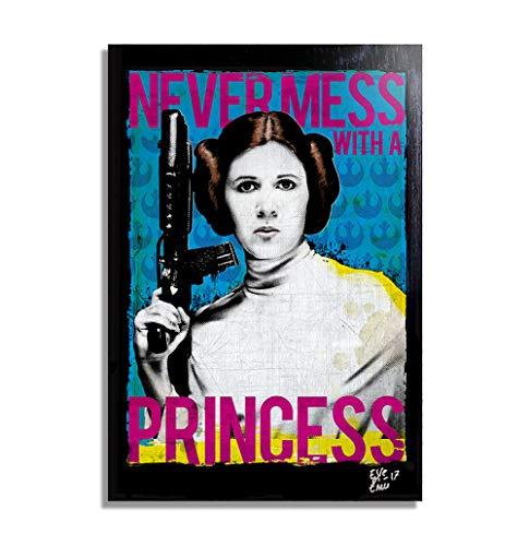 Princesa Leia Organa (Carrie Fisher) de Star Wars - Pintura Enmarcado Original, Imagen Pop-Art, Impresion Poster, Impresion en Lienzo, Cuadro, Comics, Cartel de la Pelicula