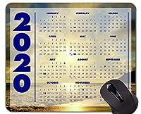 2020ギャラクシーカレンダーマウスパッドアンチスリップ、ビーチバケーションテーマオフィスマウスパッド