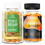 Tacanna Natural Hemp Oil Gummies 90 Count Bundle with Turmeric Ginger Gummies 60 Count Relieve Stress Anti inflammatory Joint Support Immune Boost Anxiety Relieve Omega 3 6 9