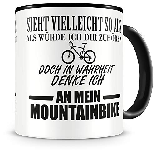 Samunshi® Ich denke an mein Mountainbike Tasse Kaffeetasse Teetasse Kaffeepott Kaffeebecher Becher