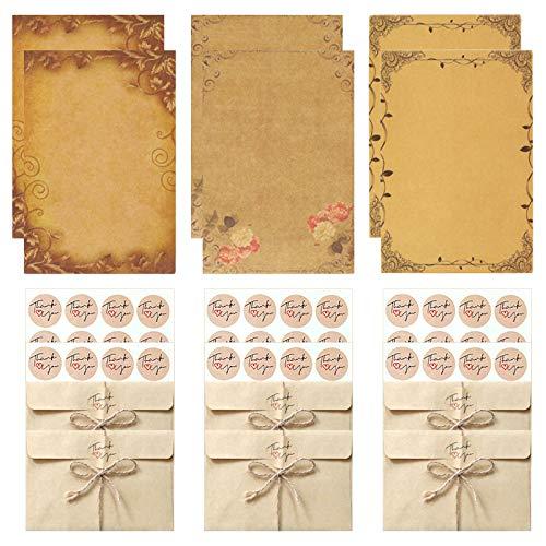 No-Branded Juego de sobres y papel vintage, 12 sobres kraft, 24 papel de carta antiguo, 36 pegatinas de sellado, 12 cuerda de...