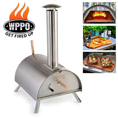 WPPO Lil Luigi Multi-Fuel Deluxe Stainless Steel Outdoor Pizza Oven, Wood Fired Portable Pizza Oven and BBQ, Built-In Thermometer + FREE Chef's Kit & Protective Cover