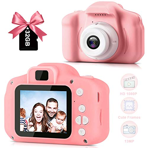 1080P Kids Digital Camera for Best Birthday Festival Gift, Colorful Toy Children Recharged Camera for 3-10 Year Old Boys Girls, Toddler Cute Multi-Functional Camera with 2 Inch Screen 13MP 32GB Card