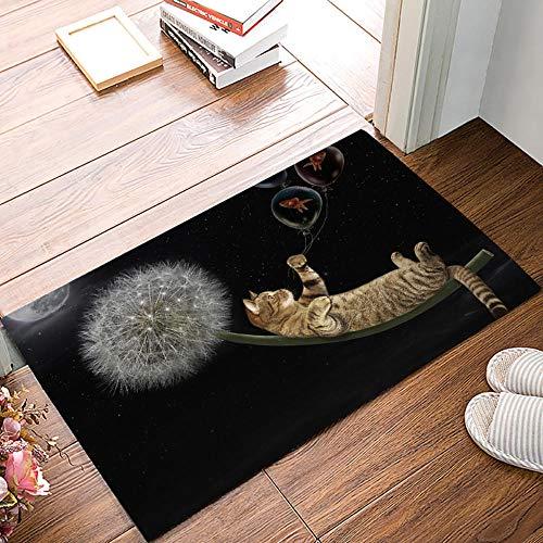 QLIYT Fußmatten Löwenzahn Katze Badezimmerzubehör Badewanne Duschwanne Boden Teppiche Läufer Teppiche Extra Weich