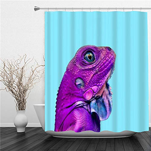 SUHETI Duschvorhang 180x180cm,Lustige Eidechse Minimal Zoo Farben Tropical Close Up Kopf Leguan,Duschvorhang Wasserabweisend-Duschvorhangringen 12 Shower Curtain mit