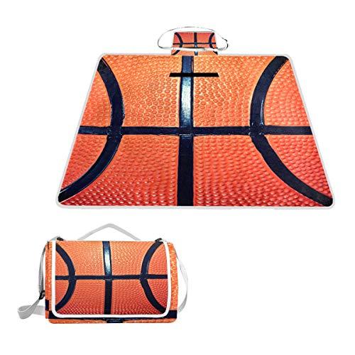 LZXO Jumbo Picknickdecke faltbar Sport Ball Basketball Muster groß 145 x 150 cm Wasserdichte handliche Matte Tragetasche Kompakte Outdoor Matte mit Griff für Outdoor Reisen Camping Wandern Aktivitäten