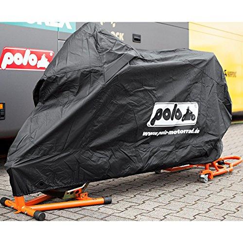Polo Motorradabdeckung Motorradplane Motorradgarage Outdoor Abdeckplane, robust, hitzefest bis 200 °C, Gummizug, lackschonend, Schwarz, Größe L = 280/152 / 100